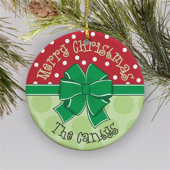 Round Merry Merry Ornament-Personalized Gifts