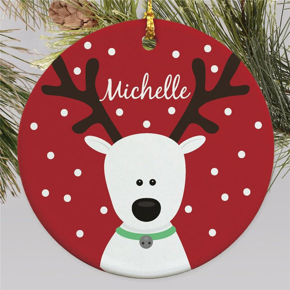 Round Reindeer Ornament-Personalized Gifts