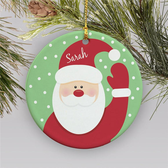 Round Santa Ornament-Personalized Gifts