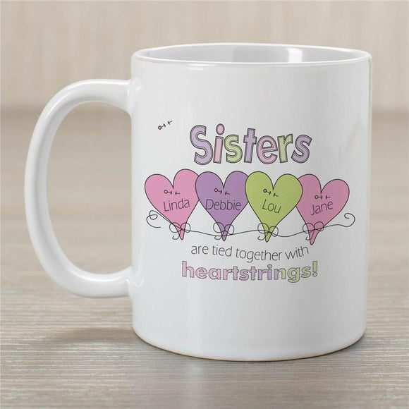 Sisters Mug - Heart Strings design-Personalized Gifts