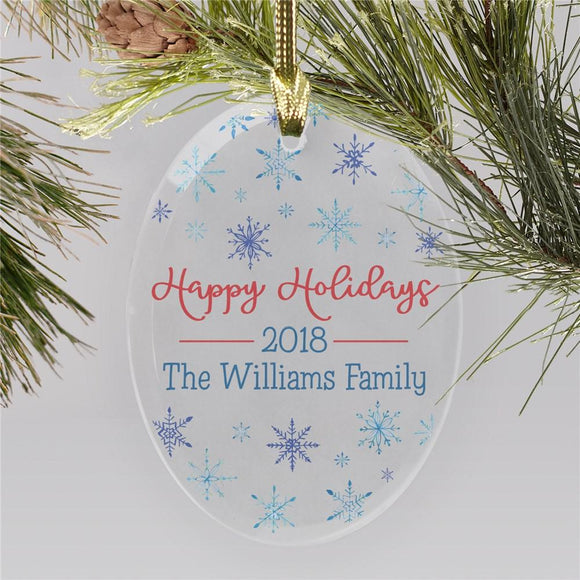 Snowflake Glass Oval Ornament-Personalized Gifts