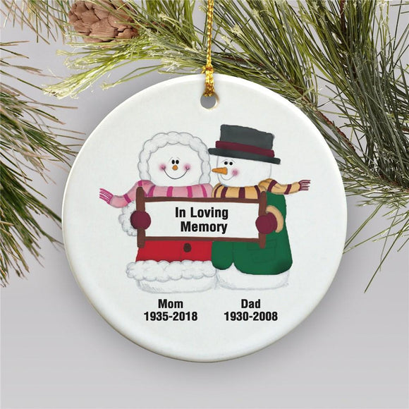 Snowman Couple Personalized Memorial Ornament-Personalized Gifts