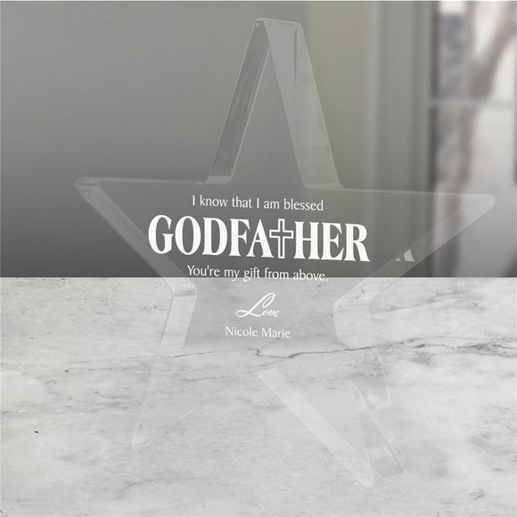 Star Engraved Godfather Keepsake-Personalized Gifts