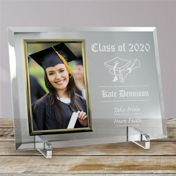 Take Pride Graduation Beveled Glass Picture Frame-Personalized Gifts
