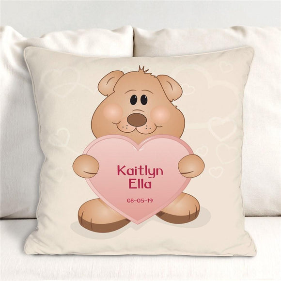 Teddy Bear Girl Throw Pillow-Personalized Gifts