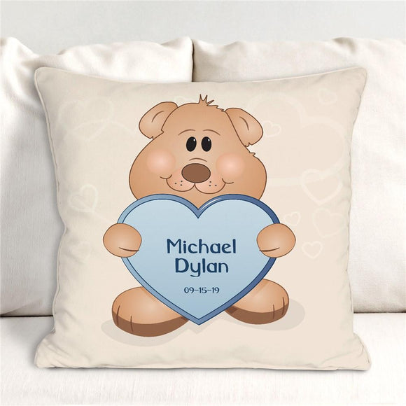 Teddy Bear New Baby Boy Personalized Throw Pillow-Personalized Gifts