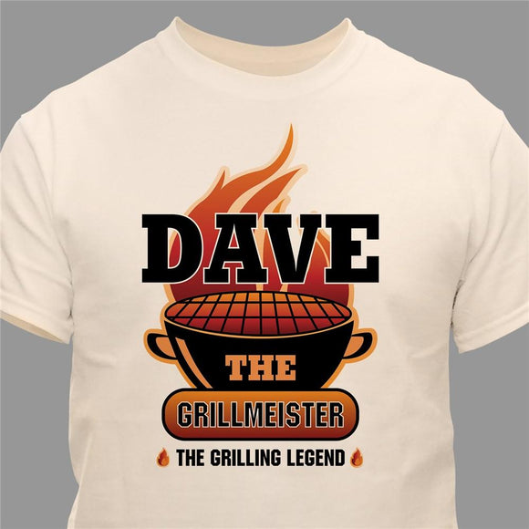 The Grillmeister Personalized Natural T-Shirt-Personalized Gifts