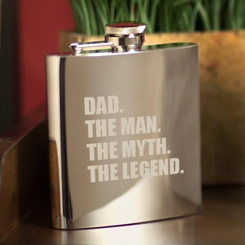 The Man. The Myth. The Legend. Mirror 7 oz. Flask-Personalized Gifts