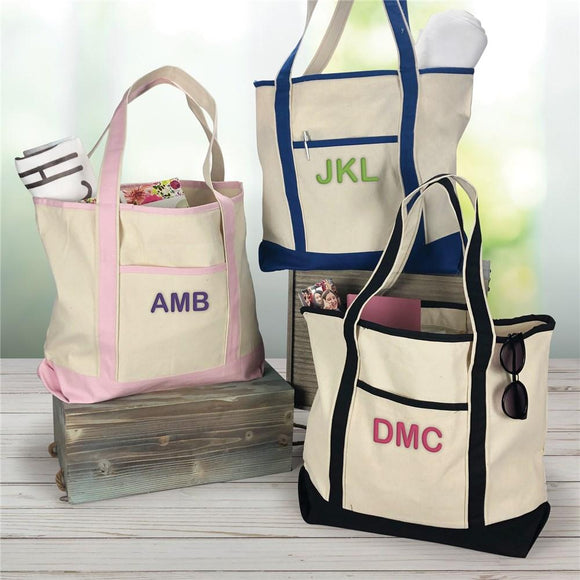 Three initials Canvas Tote-Personalized Gifts