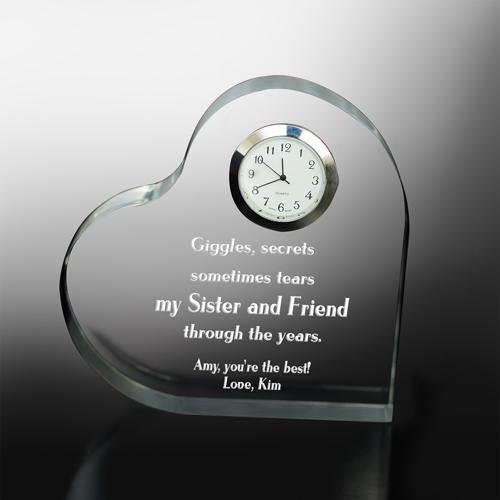 Through the Years Keepsake Heart Clock-Personalized Gifts