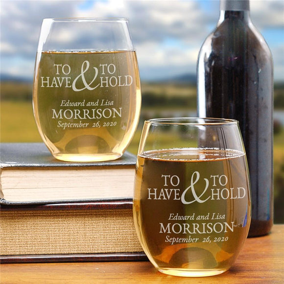 To Have & To Hold Stemless Wine Glass Set-Personalized Gifts