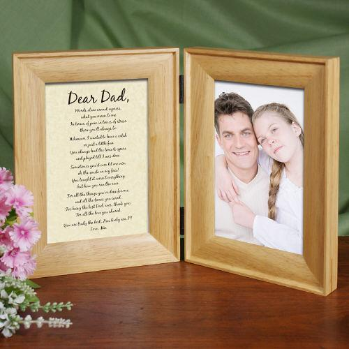 To My Dad... Natural Wood Bi-Fold Personalized Picture Frame-Personalized Gifts