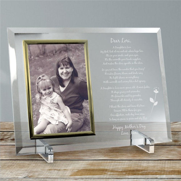To My Daughter Personalized Mother's Day Frame - Beveled Glass Picture Frame-Personalized Gifts