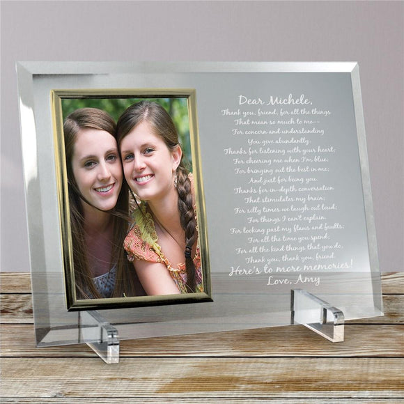To My Friend... Beveled Glass Picture Frame-Personalized Gifts