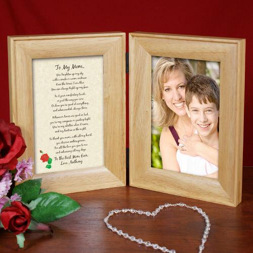 To My Mom... Natural Wood Bi-Fold Personalized Picture Frame-Personalized Gifts