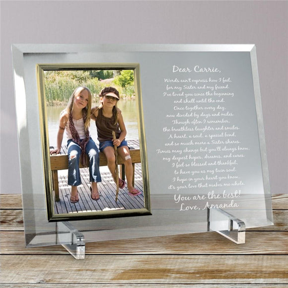 To My Sister... Beveled Glass Picture Frame-Personalized Gifts