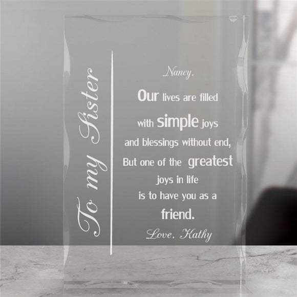 To My Sister Engraved Keepsake Block-Personalized Gifts