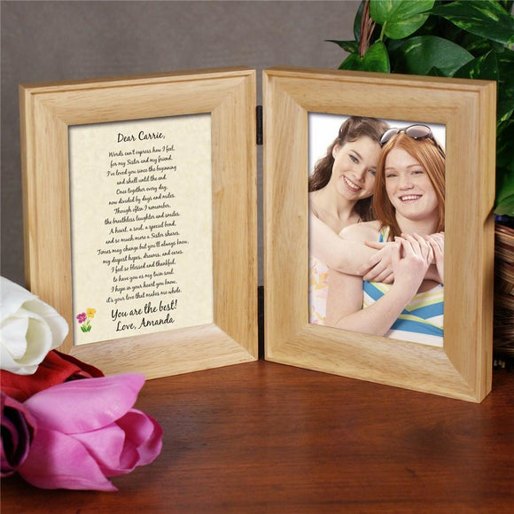 To My Sister... Natural Wood Bi-Fold Personalized Picture Frame-Personalized Gifts