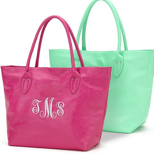 Tote Bag Leatherette with Embroidered Monogram-Personalized Gifts