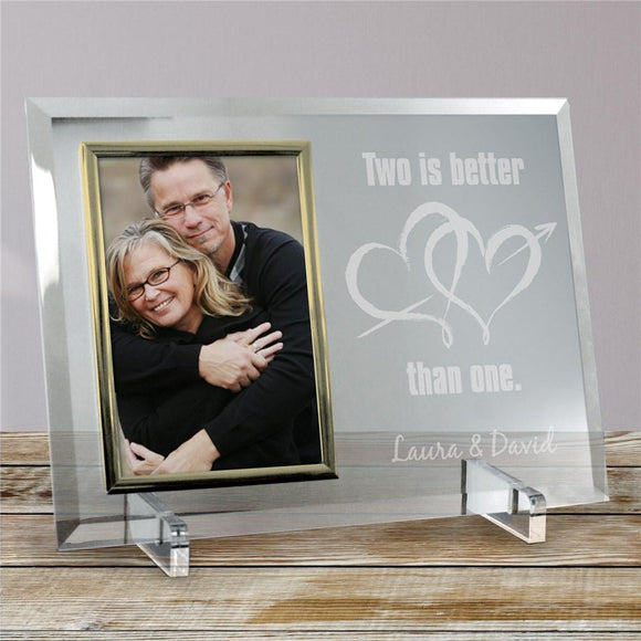 Two Is Better Than One Beveled Glass Picture Frame-Personalized Gifts