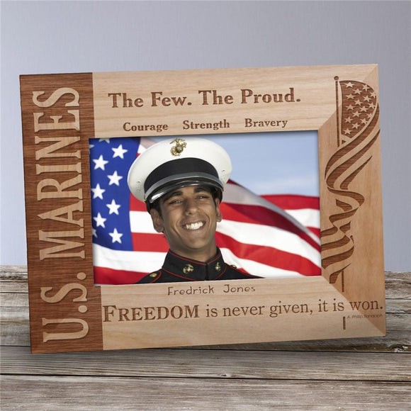 U.S. Marines Wood Picture Frame-Personalized Gifts
