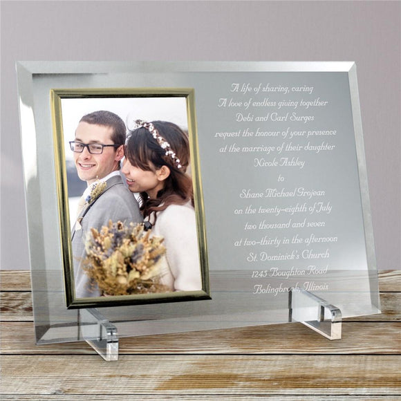Wedding Invitation Personalized Beveled Glass Picture Frame-Personalized Gifts