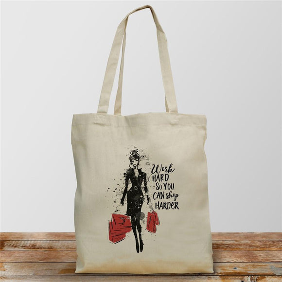 Work Hard So You Can Shop Harder Tote Bag-Personalized Gifts