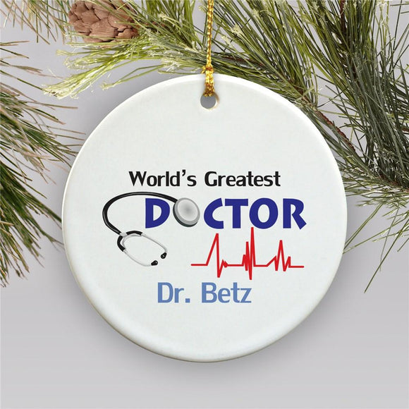 World's Greatest Doctor Personalized Ornament-Personalized Gifts