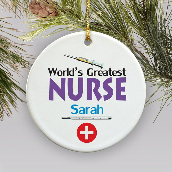 World's Greatest Nurse Personalized Ceramic Holiday Ornament-Personalized Gifts