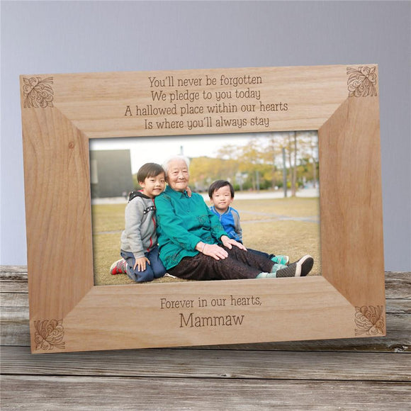 You'll Never Be Forgotten Memorial Wood Picture Frame-Personalized Gifts