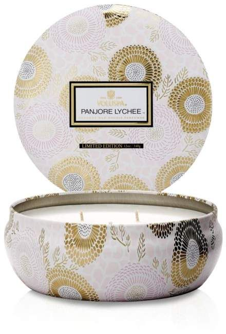Voluspa Panjore Lychee 3 Wick Candle In Decorative Tin