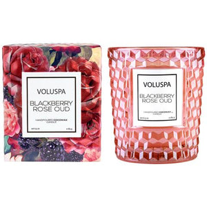 Voluspa Blackberry Rose Oud 6.5 Oz Boxed Classic Textured Glass Candle