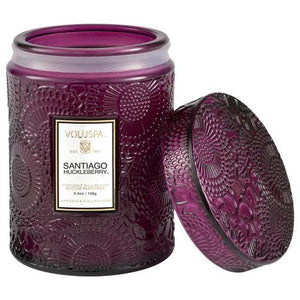 Voluspa Santiago Huckleberry 5.5 Oz Embossed Glass Jar Candle W/ Glass Lid
