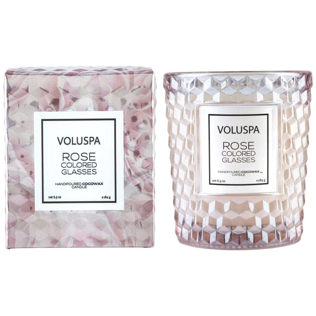 Voluspa Rose Colored Glasses Classic Candle in Textured Glass