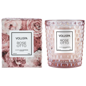 Voluspa Rose Otto Classic Candle in Textured Glass