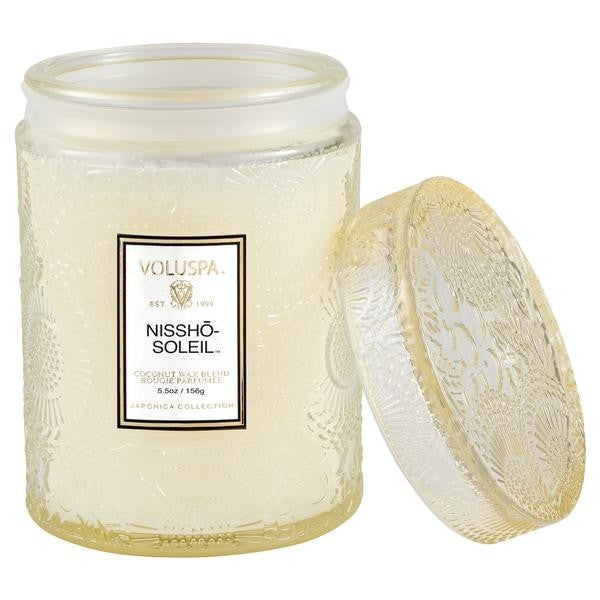 Voluspa Nissho-Soleil 5.5 Oz Embossed Glass Jar Candle W/ Glass Lid