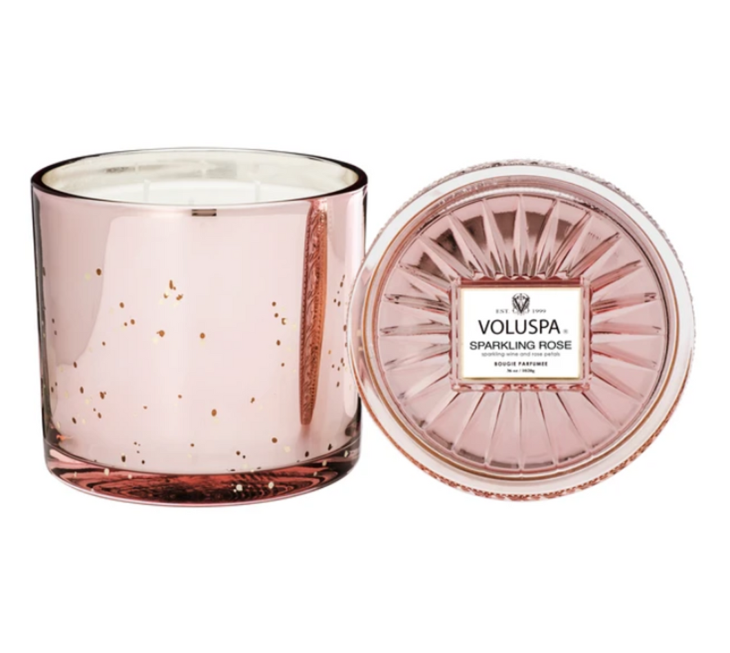 Voluspa Sparkling Rose Grande Maison Candle With Lid