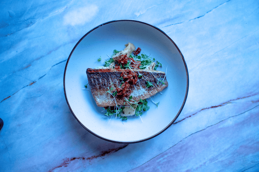 Sea bass with brassica salad