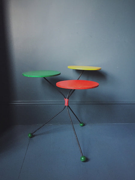 Rare Vintage German Atomic Style Plant Stand/Side Table