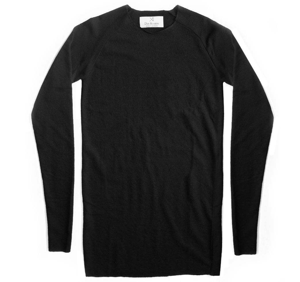 Back order - Long luxury black crewneck