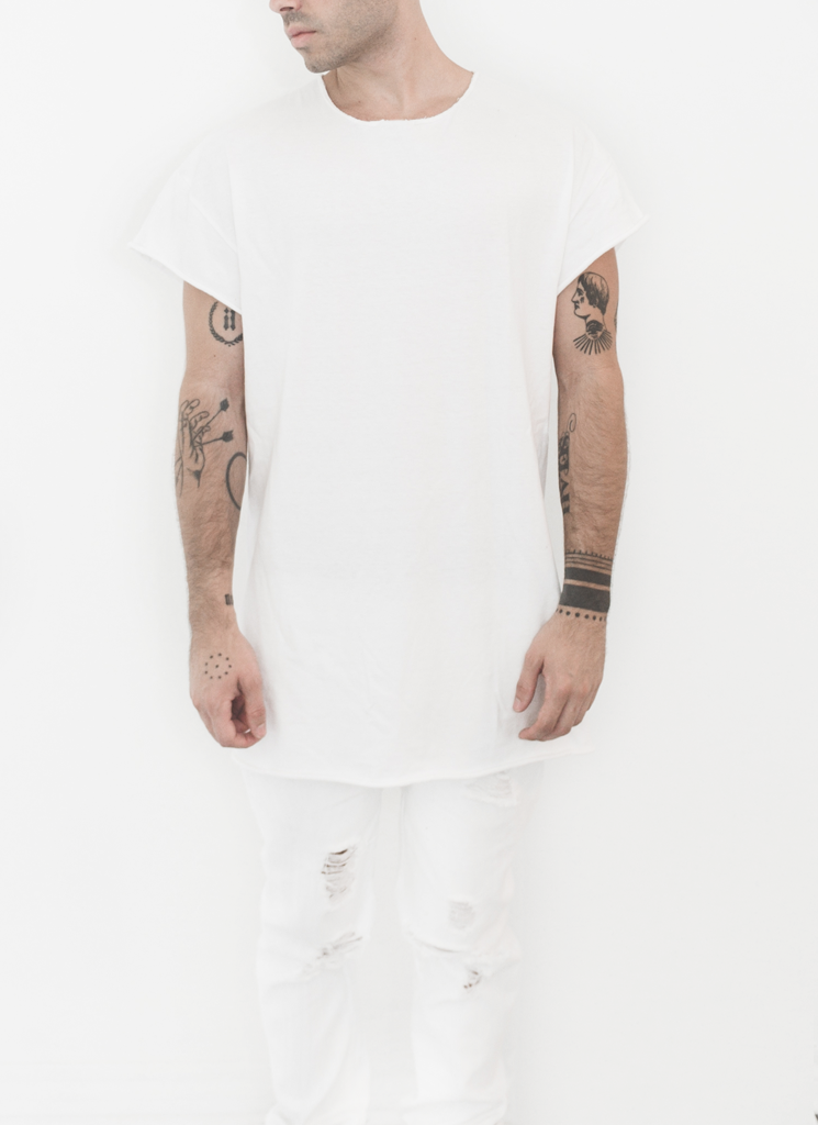 UNPRINTED RAWCUT WHITE TEE