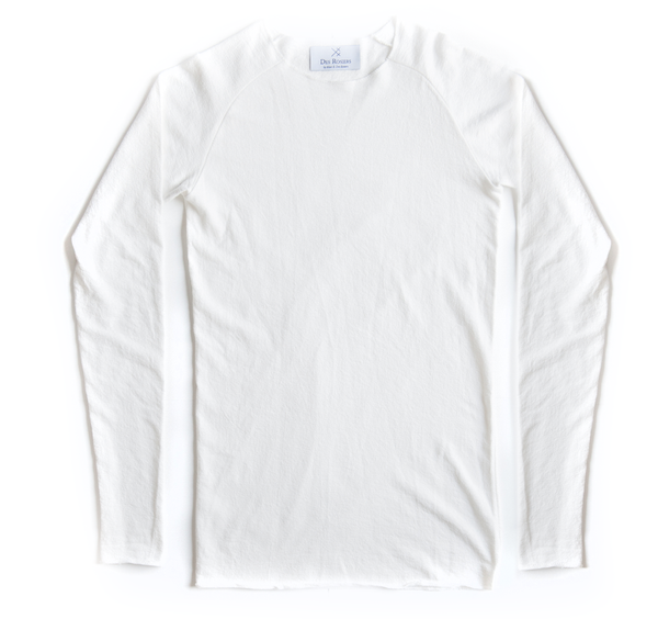 Back order - Long luxury white crewneck