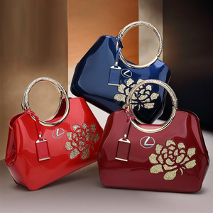 ,LX GENUINE LEATHER WOMEN HANDBAG WITH FLOWER