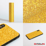 atFoliX Skin kompatibel mit Sony PlayStation 4 (PS4) - FX-Glitter-Gold-Rush Cover Aufkleber