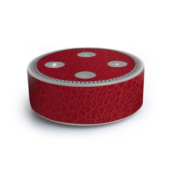 atFoliX FX-Leather-Red Skin für Amazon Echo Dot (2. Generation)