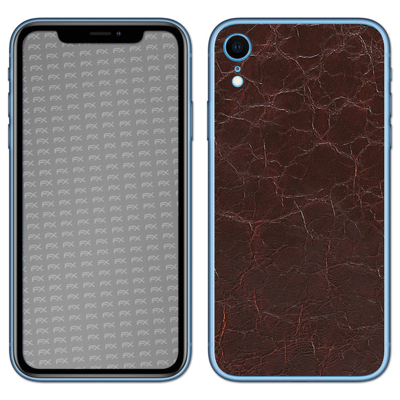 atFoliX FX-Rugged-Leather-Brown Skin für Apple iPhone XR