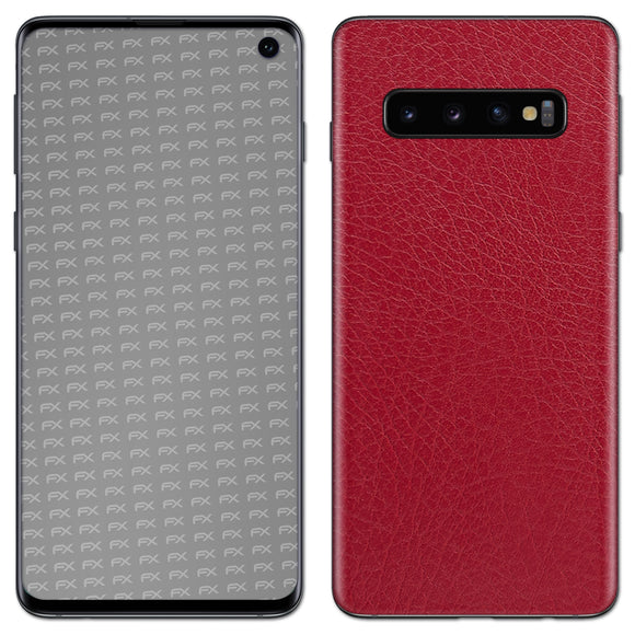 atFoliX FX-Leather-Red Skin für Samsung Galaxy S10