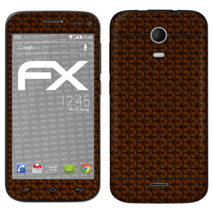 atFoliX FX-Honeycomb-Brown Skin für Wiko Darkmoon