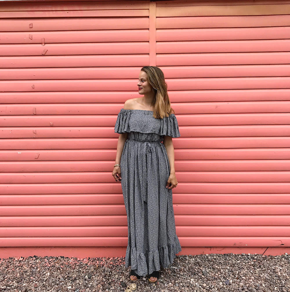 DIY Off the shoulder ruffle maxi dress with tiered gathered skirt