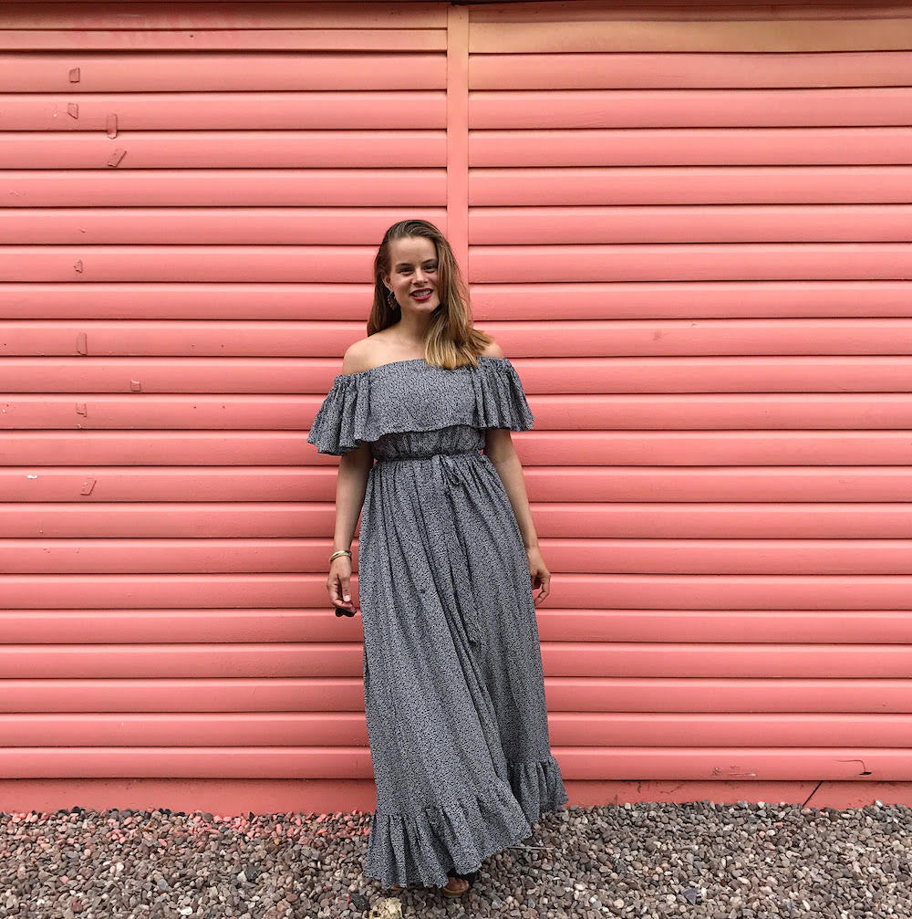 DIY Off the shoulder ruffle maxi dress with tiered gathered skirt - image 2
